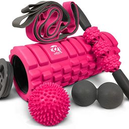 321 STRONG 5 in 1 Foam Roller Set Includes Hollow Core Massage Roller with End Caps, Muscle Rolle... | Amazon (US)