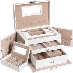SONGMICS Jewelry Box for Women, Jewelry Organizer with 2 Drawers, Lockable Jewelry Case with Mirr... | Amazon (US)