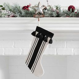 Black and Cream Stripe Stocking | Kirkland's Home