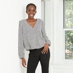 Women's Puff Long Sleeve Wrap Top - A New Day™ | Target
