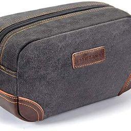 emissary Men's Toiletry Bag Leather and Canvas Travel Toiletry Bag Dopp Kit for Men Shaving Bag f... | Amazon (US)