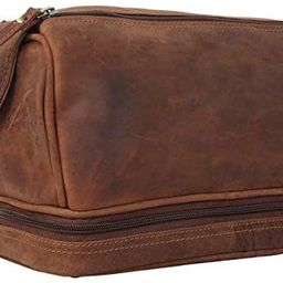 Genuine Leather Travel Toiletry Bag - Dopp Kit Organizer By Rustic Town (Brown) | Amazon (US)