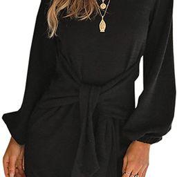Imysty Womens Dresses Casual Tie Front Lantern Sleeve Party Short Mini Pencil Dress | Amazon (US)