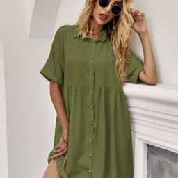 Button Front Batwing Sleeve Smock Dress | SHEIN