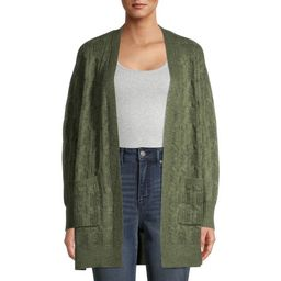 Time and Tru - Time and Tru Women's Cable Stitch Two Pocket Cardigan - Walmart.com | Walmart (US)