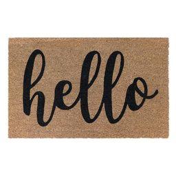 Hello 18 in. x 30 in. Coir Door Mat | The Home Depot