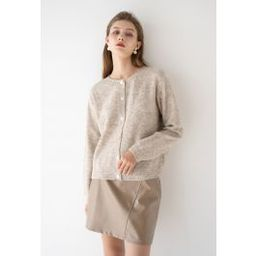 Button Placket Knit Cardigan in Sand | Chicwish