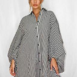 Black Plaid Puff Sleeve Oversized Shirt Dress | Missguided (US & CA)