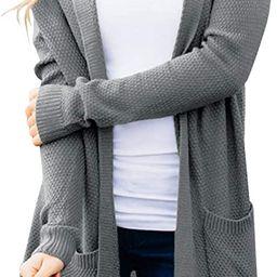 MEROKEETY Women's Long Sleeve Open Front Hoodie Knit Sweater Cardigan with Pockets | Amazon (US)