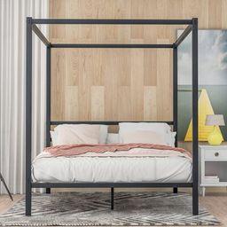 Bevard Queen Canopy Bed Latitude Run® Color: Black   Wayfair North America