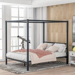Arzate Queen Canopy Bed Latitude Run® Color: Black   Wayfair North America