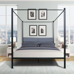 Melby Queen Canopy Bed Everly Quinn Color: Black   Wayfair North America