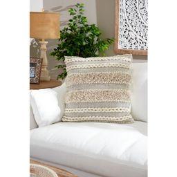 Decorative Throw Pillow w/ Striped Braid Design & Yarn Tassels (Medium - 24 x 24)   Overstock