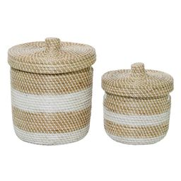 Litton Lane Small White And Natural Woven Striped Round Seagrass Basket With Lid, Set Of 2: 13in, 17   The Home Depot