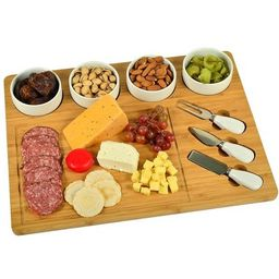 Picnic at Ascot - Large Bamboo Cheese/Charcuterie Board with 4 Ceramic Bowls & 3 Stainless Steel ... | Target