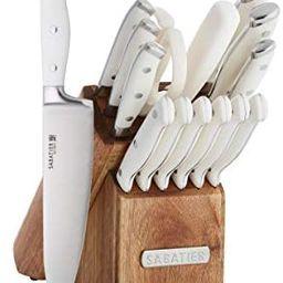 Sabatier Forged Triple Rivet Knife Block Set, 15-Piece, White | Amazon (US)