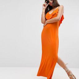 ASOS Maxi Dress With Asymmetric Frill Detail - Orange | ASOS UK