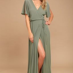 Much Obliged Washed Olive Green Wrap Maxi Dress | Lulus (US)
