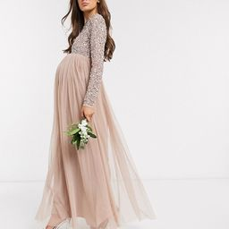 Maya Maternity Bridesmaid long sleeve maxi tulle dress with tonal delicate sequin overlay in taup...   ASOS (Global)