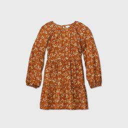 Girls' Floral Print Ruffle Tiered Dress - art class™ Brown | Target