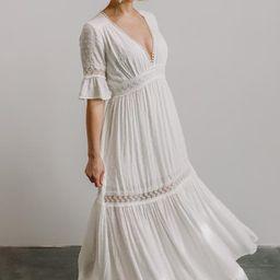 Rayne White Deep V Maxi Dress   Baltic Born