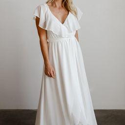 Katya White Ruffle Maxi Dress   Baltic Born