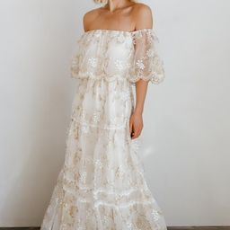 Aurora Gold Thread Off Shoulder Maxi Dress   Baltic Born