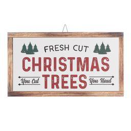 "Holiday Time Fresh Cut Christmas Tree Hanging Sign Christmas Decoration, 18"" x 10"" | Walmart (US)"