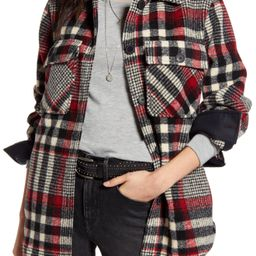 Women's Treasure & Bond Plaid Shirt Jacket, Size X-Large - Black   Nordstrom