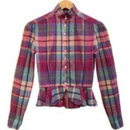 Ralph Lauren Peasant Shirt With Mandarin Collar & Peplum Waist. Western Plaid Shirt. Women's Size Xs   Etsy (US)