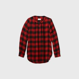 Women's Plaid Long Sleeve Tunic Popover Blouse - Universal Thread Red XS   Target