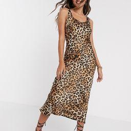 ASOS DESIGN scoop neck midi satin slip dress in leopard print | ASOS (Global)