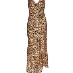 Harmony Leopard-Print Satin Asymmetric Slip Dress | Saks Fifth Avenue