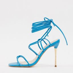 Public Desire Sprite tie up heeled sandals in blue | ASOS (Global)