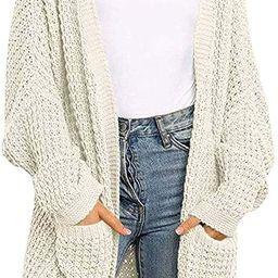 MEROKEETY Women's Oversized Long Batwing Sleeve Cardigan Waffle Knit Pockets Sweater Coat   Amazon (US)