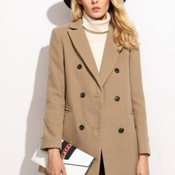 SHEIN Camel Double Breasted Coat With Welt Pocket   SHEIN