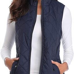 fuinloth Women's Padded Vest, Stand Collar Lightweight Zip Quilted Gilet | Amazon (US)