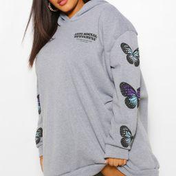 Plus Butterfly Sleeve Hooded Sweat Dress | Boohoo.com (US & CA)