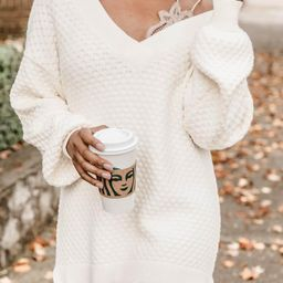 Keep On Smiling V-Neck Ivory Sweater | The Pink Lily Boutique