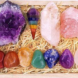 Premium Healing Crystals Kit in Wooden Box - 7 Chakra Set Tumbled Stones, Rose Quartz, Amethyst C...   Amazon (US)