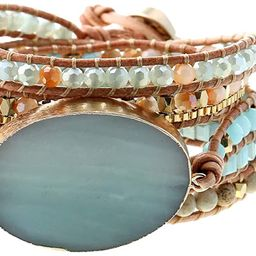 Plumiss Women Boho Handmade Natural Stone Wrap Bracelets Variety Beads Strand Bracelet for Men Co...   Amazon (US)