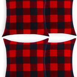 Volcanics Christmas Pillow Covers Buffalo Check Plaid Throw Pillow Covers Set of 4 Farmhouse Deco... | Amazon (US)