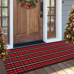 Tiffasea Buffalo Plaid Door Mat 2x4ft Cotton Checked Rug,Christmas Farmhouse Red and Black Outdoo... | Amazon (US)