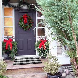 Inkesky Cotton Black and White Buffalo Plaid Check Outdoor Rug - Christmas Rugs - 23.6 x 35.4 Inc... | Amazon (US)