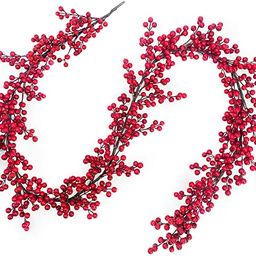 TURNMEON 6 Foot Christmas Red Berry Garland Christmas Decorations 756 Red Berry Thick 108 Branch ... | Amazon (US)
