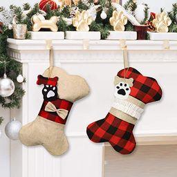 Alkey Pet Dog Christmas Stockings, 2Pcs 17 Inch Burlap Plaid Large Bone Shape Pets Christmas Stoc... | Amazon (US)
