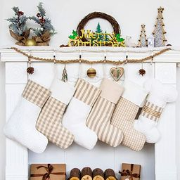 LUBOTS Set of 5 Christmas Stockings(20inch) Plaid/Rustic/Farmhouse/Country Fireplace Hanging Canv... | Amazon (US)