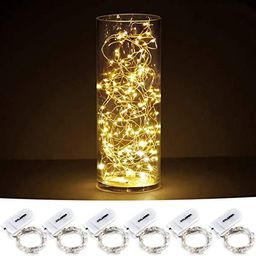 CYLAPEX 6 Pack Fairy Lights Battery Operated String Lights, 20 LED on 3.3ft Silvery Copper Wire, ... | Amazon (US)