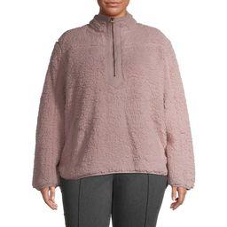 Time and Tru Women's Plus Size Quarter Zip Faux Sherpa Pullover | Walmart (US)