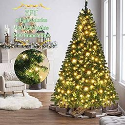 OurWarm 7ft Pre-Lit Artificial Christmas Tree PVC Xmas Tree with 400 UL-Certified LED Lights and ...   Amazon (US)